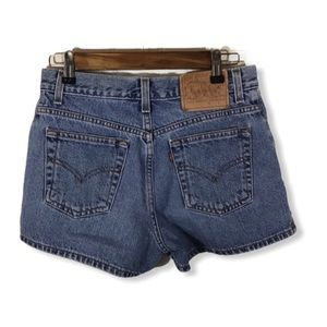 Levi's Denim Shorts with Gold Studs.